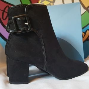 Black Suede Strap Buckle Ankle Boots Size 7